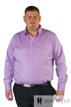 Lilac Herringbone Bespoke Shirt. Also available in Plus size.