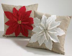 Christmas+felt++pillows   White Poinsettia Felt Holiday Design Throw Pillow   Christmas