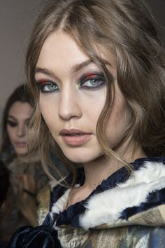Gigi Hadid backstage at the Alberta Ferretti fashion show during Milan Fashion Week