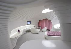 Unique Sky Resort Design in Iran: Amazing Bedroom Design With Futuristic White Style In Interior Design Inspiration Websites With Unique Structure And Modern Lighting Ideas