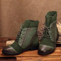 26abfd8f9 Burnish Vintage cuero negro   marrón   verde tobillo plana botas de mujer  de botas planas
