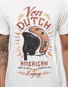 Shop Von Dutch T-Shirt With Helmet Print at ASOS. Motorcycle Fashion, Motorcycle Style, Von Dutch, American Made, Helmet, Graphic Tees, Asos, Delivery, Spring Summer