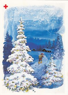 Osmo 'Omppu' Antero Omenamäki Christmas Cards, Merry Christmas, Baby Bottles, Gnomes, Elves, Troll, Childrens Books, Snow Globes, Woodland