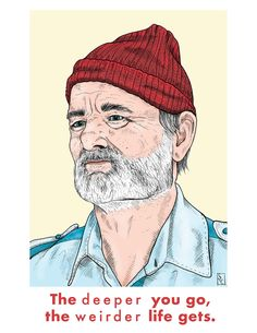 """11 x 14"""" Life Aquatic Print // Steve Zissou // Bill Murray // Wes Anderson Films // Movie Art // Rushmore // Wes Anderson Illustration by StaceOfSpadesStudio on Etsy"""