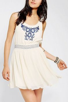 Ecote Embroidered Heidi Dress at Urban Outfitters