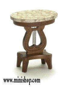 Lyre Table w/Marble Top, Walnut