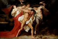 """artpoteosis: """" William-Adolphe Bouguereau – Orestes Pursued by the Furies ( The Remorse of Orestes ) Oil on canvas - 227 × 278 cm Location: Chrysler Museum of Art In this dramatic scene from an ancient Greek tragedy, Orestes is. William Adolphe Bouguereau, Roman Mythology, Greek Mythology, Classical Mythology, Classical Art, Georg Christoph Lichtenberg, Chrysler Museum, Jean Leon, Art History Memes"""