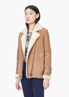 aviator leather coat by Mango