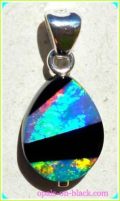 Intarsia Inlay Opal Pendant from Opals-On-Black! Australian Opal Jewelry, Black Opal, Gem Stones, Jewelry Sets, Beautiful Things, Pendants, Brooch, Pendant Necklace, Drop Earrings