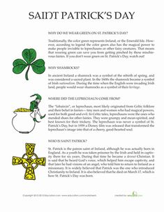Ever wonder why we wear green on St. Patrick& day, or where the leprechaun came from? Find out with this worksheet on St. St Patrick Facts, Sant Patrick, St Patrick's Day Story, St Patrick's Day Trivia, St Patrick's Day Games, St Patrick Day Activities, Work Activities, Educational Activities, Fun Facts For Kids