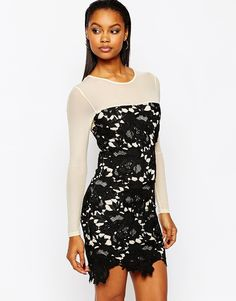 Облегающее платье с кружевной отделкой Boohoo