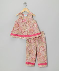 Take a look at this Pink Paisley Initial Sleeveless Top & Pants - Infant & Toddler by Monday's Child on #zulily today!