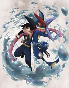 Ash Ketchum and his Greninja ^.^ ♡ I give good credit to whoever made this