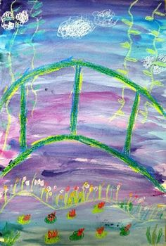 For the Love of Art: 1st Grade: Monet's Bridge - lesson plan with video and crayon resist watercolors - I want to do this myself!