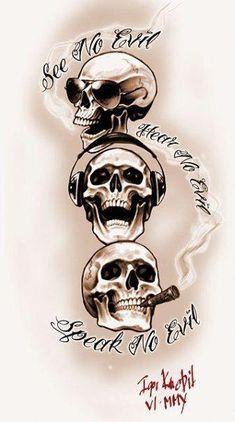 skull tattoo No Evil Skulls Tattoo Design Evil Skull Tattoo, Skull Rose Tattoos, Skull Girl Tattoo, Skull Tattoo Design, Skull Design, Body Art Tattoos, Sleeve Tattoos, Cool Tattoos, Design Design