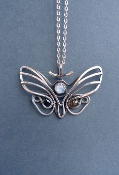 Death's-head hawkmoth necklace - Multi-stone silver Butterfly pendant - wire wrapped pendant - luxury classic jewelry Romantic gift for her