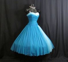 Vintage 1950's 50's 50s Strapless BLUE Turquoise by VintageVortex