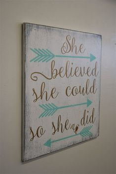 Wood Sign Girls Nursery Decor She Believed She Could So She Did Shabby Chic Nursery Inspirational Mint And Gold Nursery Baby Shower Gift Teenage Girl Bedroom Designs, Teenage Girl Bedrooms, Tween Girl Bedroom Ideas, Teenage Girl Room Decor, Gold Nursery, Nursery Wall Decor, Girls Room Wall Decor, Chic Nursery, Cadre Diy