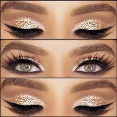 Bold gold eyeshadow look …