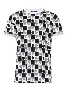 White and black all over print oversize t-shirt with fixed roll up sleeves