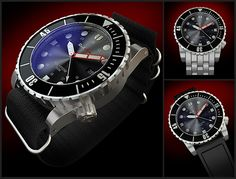 RedSea Holystone       Case: 44mm 316L Stainless Steel (or PVD)      Lugs: 22mm      Height: 14mm      Movement: Miyota 9015 (28,800 BPH)      Lume: LÜM-TEC® (Blue)      Water Resistant: 300M      Crystal: AR Undercoated Sapphire    3 bands included with every watch  5 Link Diver Bracelet, Nato, and Rubber $695