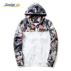 8694694f102ba Covrlge Men s Print Hooded Jackets 2017 New Spring Autumn Thin Jacket  Coateosewe Floral Bomber Jacket