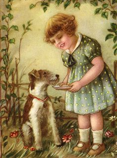 WIRE FOX TERRIER CHARMING DOG GREETINGS NOTE CARD DOG AND LITTLE GIRL Chien Fox Terrier, Wirehaired Fox Terrier, Wire Haired Terrier, Wire Fox Terrier, Little Dogs, Little Girls, I Love Dogs, Cute Dogs, Smooth Fox Terriers