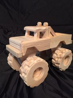 Wood toy Monster Truck by WillsWheels on Etsy Wooden Toy Trucks, Wooden Car, Wooden Toys, Woodworking Toys, Woodworking Projects, Diy Toys Car, Wood Toys Plans, Kids Wood, Handmade Toys