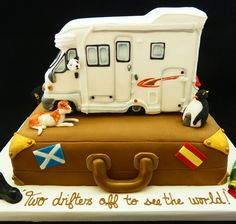 Unique and very personal Camper Van and Suitcase 50th birthday Cake.... www.creativecreations.uk.com