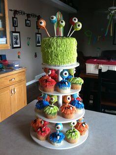 My sons monster birthday cake Monster Party, Monster Birthday Cakes, Little Monster Birthday, Monster 1st Birthdays, Monster Birthday Parties, Birthday Fun, First Birthday Parties, First Birthdays, Cake Birthday