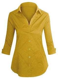 Loving this Hot From Hollywood Mustard Three-Quarter Sleeve Button-Up on Chemise Fashion, Stylish Tops For Women, Girls Dresses Sewing, Fancy Dress Design, Designer Kurtis, Plus Size Shirts, How To Wear Scarves, Custom Clothes, Blouse Designs