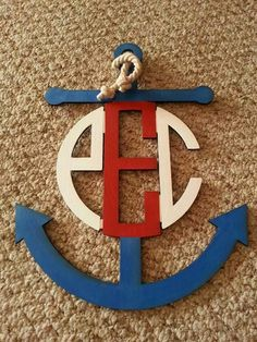 Wooden anchor monogram www.initialoutfitters.net/bethmaz