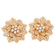VAN CLEEF & ARPELS Diamond Gold Blossom Earclips - Macklowe