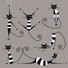 Illustration of Black cat silhouette for your design vector art, clipart and stock vectors. I Love Cats, Crazy Cats, Cool Cats, Cat Design, Design Set, Cat Drawing, Rock Art, Cat Art, Cats And Kittens