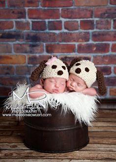 Twin Set Puppy Beanies Crochet Baby Photography Props Ready Item. $30.00, via Etsy.