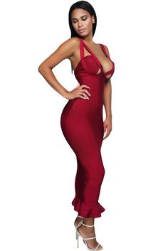 Burgundy Fishtail Bandage Dress LAVELIQ