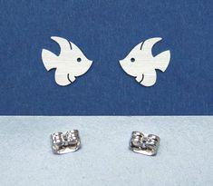 a Angel fish Studs Earrings sterling silver mini by artstudio88