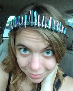 Rainbow quartz crystal crown quartz tiara by heatherfeathercannon
