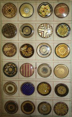 One page of ca 1790 French buttons in a very rare 1790 button sample book.