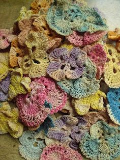 Vintage crochet pansies.  Crochet and dye/stain new ones to look old.