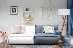wit grijze loungebank online | trendy zitbank | kleur grijs met wit | levaleva | hoekbank | woonkamer | cool grey sofa online | inspiratie zitbanken | lees 9 x leuke hippe banken voor de woonkamer via ZOOK.nl