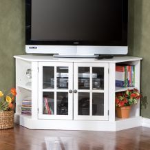 Nifty little corner TV stand, with storage and shelves underneath!
