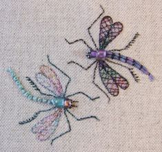PP14 Dragonfly Duo Pincushion Pattern and print by lornabateman22