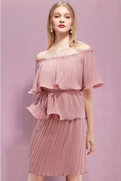 LUCLUC Pink Pleated Frilled Off-the-Shoulder Dress