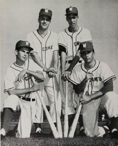 Some members of the 1959 Varsity Baseball team in the yearbook of Westchester high school in Los Angeles, California.  #Westchester #yearbook #1959