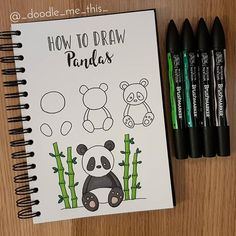 Hey Panda winsorandnewton pens from hobbycrafthq 172051648251690749 Bullet Journal Notes, Bullet Journal Aesthetic, Bullet Journal Ideas Pages, Bullet Journal Inspiration, Doodle Art For Beginners, Easy Doodle Art, Doodle Doodle, Panda Drawing, Drawing Animals