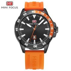 351e860c3a4b MINI FOCUS Fashion Cool Black Men Quartz Watch Rubber Strap Calendar Date  Classic Business Anolog Clock