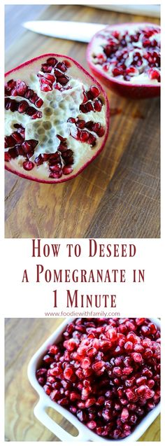The easiest method by far; How to Deseed a Pomegranate in 1 Minute flat! Pomegranate Recipes Breakfast, Pomegranate How To Eat, Fruit Recipes, Gourmet Recipes, Pomegranate Martini, Easy Recipes, I Love Food, Good Food, Fresh Fruit Salad