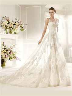 White A Line Lace Wedding Dress. can't decide if I love this or not...