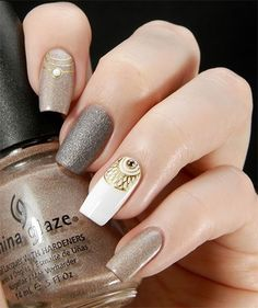 Unique and Beautiful Nail Art Designs 2017 - Artistic Nail Designs Fabulous Nails, Gorgeous Nails, Love Nails, How To Do Nails, Fun Nails, Grey Nail Art, Gray Nails, White Nail, White Gold